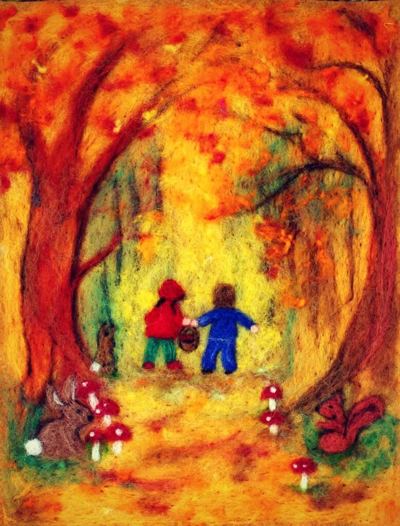 130501-Cathrine-Jis-needle-felted-fall-Hansel-and-Gretel-in-the-woods-picture-778x1024