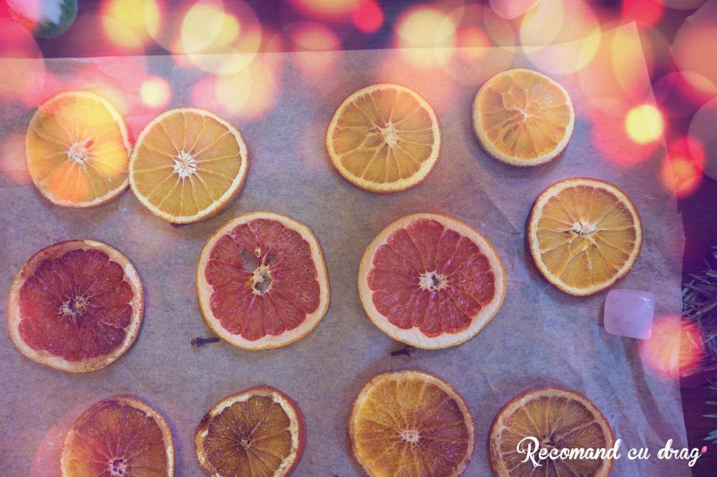 Felii de portocala deshidratate in cuptor